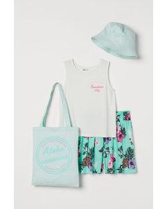 Vierdelige Set Met Stoffen Tas Wit/tropische Bloemen