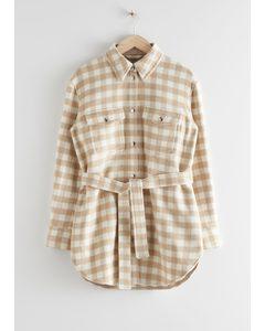 Oversized Belted Shirt Jacket Beige Checks