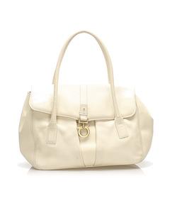 Ferragamo Gancini Leather Handbag White