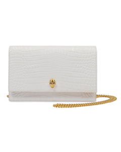 The Skull Bag In White Croc Print Leather