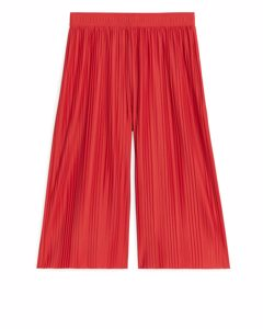 Plisse Palazzo Trousers Red