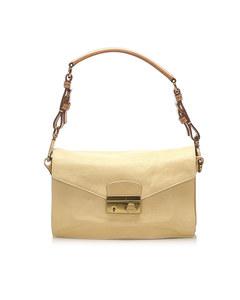 Prada Sound Lock Leather Shoulder Bag Brown