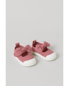 Sandalen aus Baumwollcanvas Altrosa