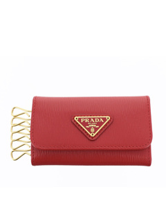 Prada Saffiano Key Holder Red