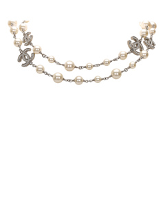 Chanel Cc Crystal Faux Pearl Long Necklace White