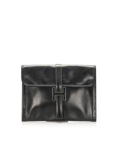 Hermes Jige Gm Leather Clutch Bag Black
