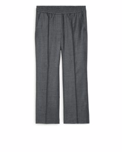 Wool Flannel Pull-on Trousers Grey