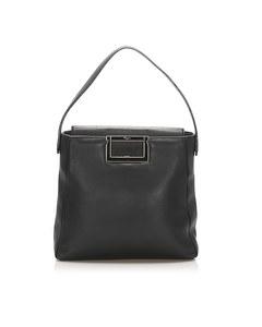 Ferragamo Gancini Leather Handbag Black