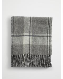 Wool Check Scarf Grey