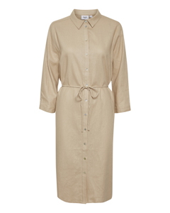T6191, Woven Linen Dress L/s Is. Cream