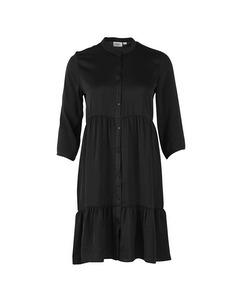 T6269, Woven Dress Above Knee Black