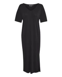 T6646, Jersey Dress Below Knee Black