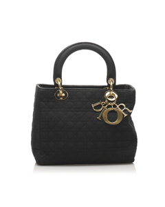 Dior Cannage Lady Dior Nylon Handbag Black