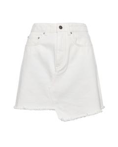 Raw Edge Denim Skirt White White