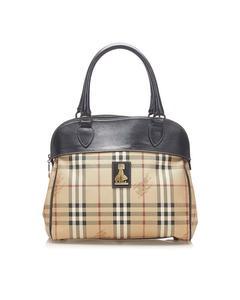 Burberry Haymarket Check Canvas Handbag Brown