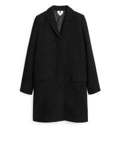 Wool Boucle Coat Black