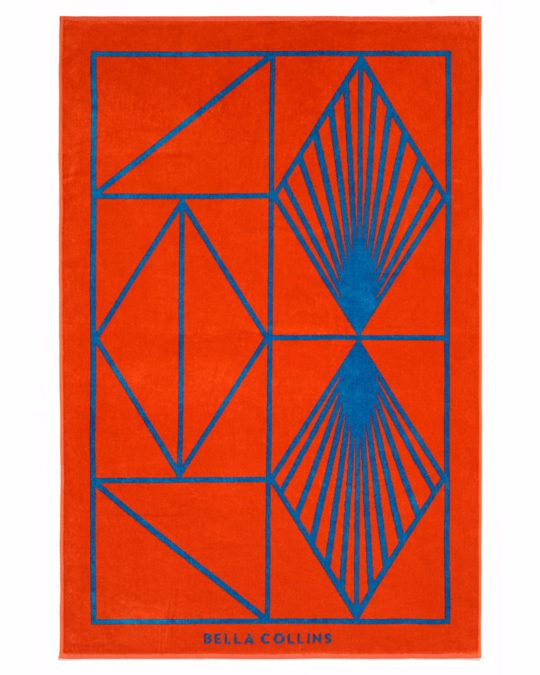 Bella Collins Beach Towel Shapes Cherry Tomato/palace Blue