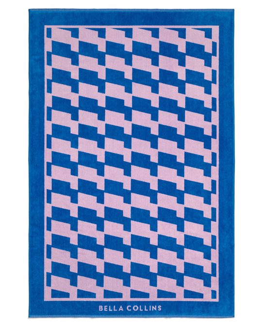 Bella Collins Beach Towel Waves  Palace Blue/pink Lavender