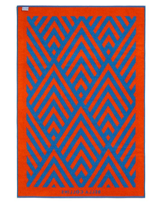 Bella Collins Beach Towel Illusions  Cherry Tomato/palace Blue