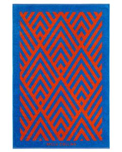 Beach Towel Illusions  Cherry Tomato/palace Blue