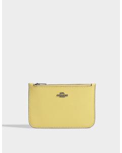 Pebble Leather Zip Card Case In Sunflower Calfskin  Dk/sunflower