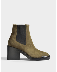 Haley Chelsea Boots In Sage Suede Leather  Sage