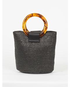Strawy Bucket Bag Black Stripe
