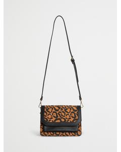 Denim Shoulder Bag With Chain Strap Leopard