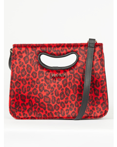Leopard Mini Tote Cut-out Handle Red