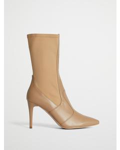 Pointy Pu Mix Boots Beige