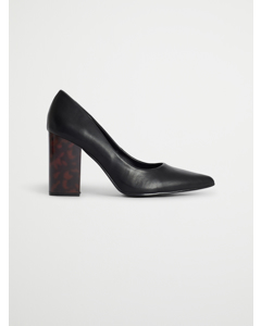 Tortoise Heel Pumps Black