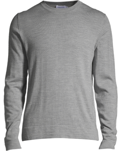 M. Patched Fine Merino R-neck Grey Mel.