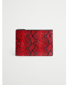 Leather Laptop Case 13'' Red/black Python