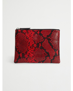 Leather Clutch Red/black Python