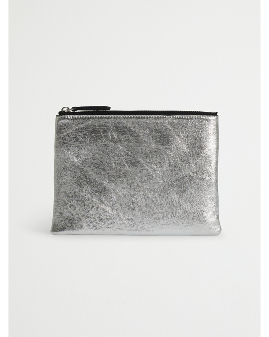 AFOUND OBJECTS Leather Clutch Silver