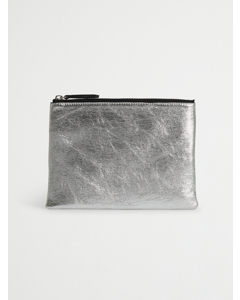 Leather Clutch Silver