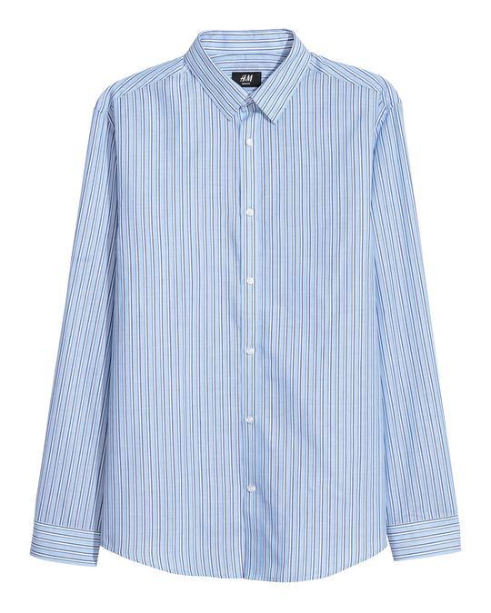H&M Easy-iron shirt Slim fit Light blue/Dark blue striped
