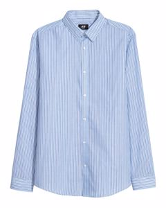 Easy-iron shirt Slim fit Light blue/Dark blue striped