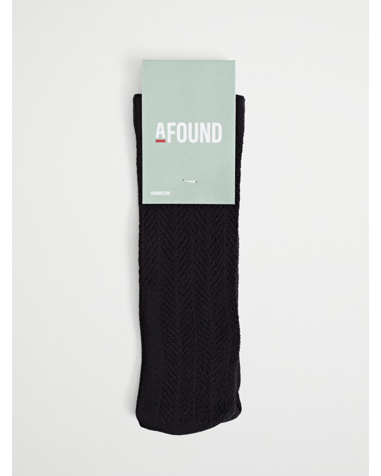 AFOUND OBJECTS Pointelle Knitted Sock Black