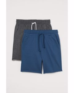 2-pack Sweatshorts Regular Fit Mörkblå/mörk Gråmelerad
