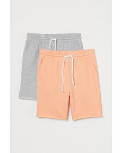 2-pack Sweatshorts Regular Fit Persikorosa/gråmelerad