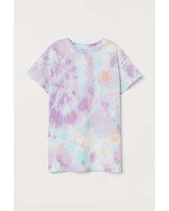 Oversized T-Shirt-Kleid Weiß/Batikmuster