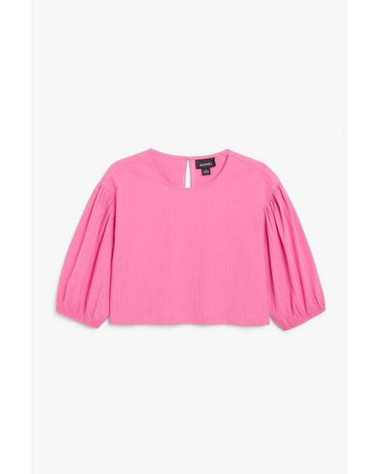 Monki Seersucker Cropped Blouse Bright Pink