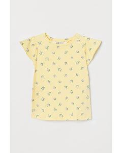 Shirt mit Butterfly-Ärmeln Hellgelb/Geblümt