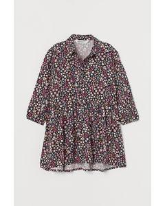 Mönstrad Skjortklänning Mörkgrå/blommig