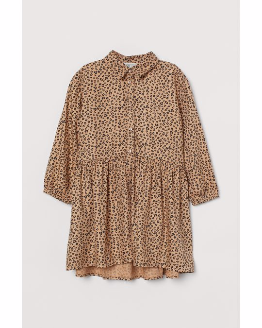 H&M Gemustertes Blusenkleid Beige/Leopardenmuster