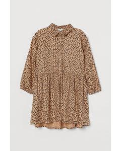 Gemustertes Blusenkleid Beige/Leopardenmuster