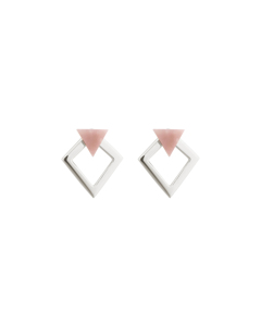 Angled Earrings  Silver Pink Opal