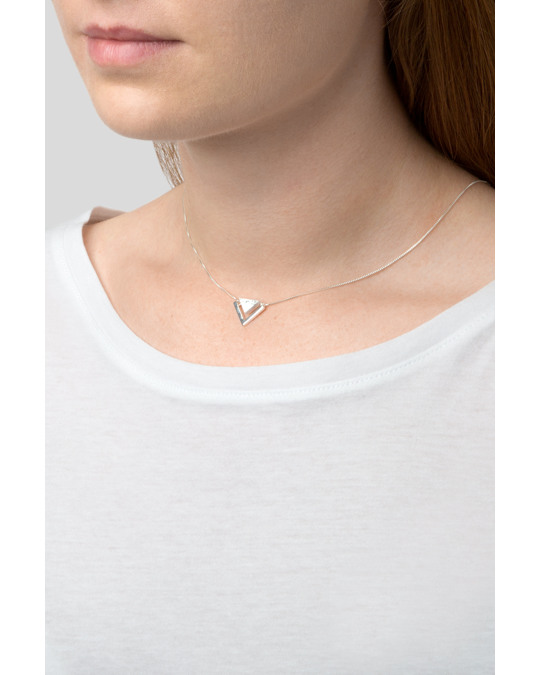 Syster P Angled Necklace  Silver Howlite