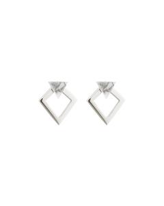 Angled Earrings  Silver Howlite